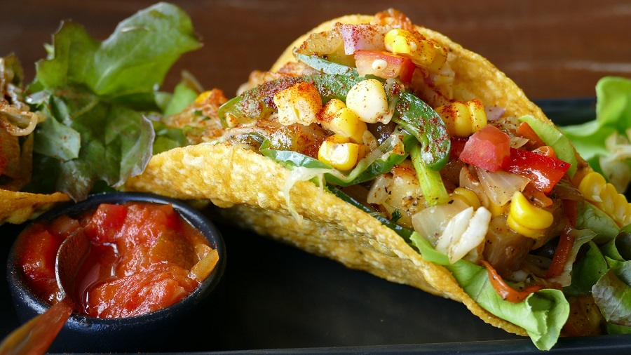 Best Taco Tuesday Recipes A Single Taco with Corn and Salsa