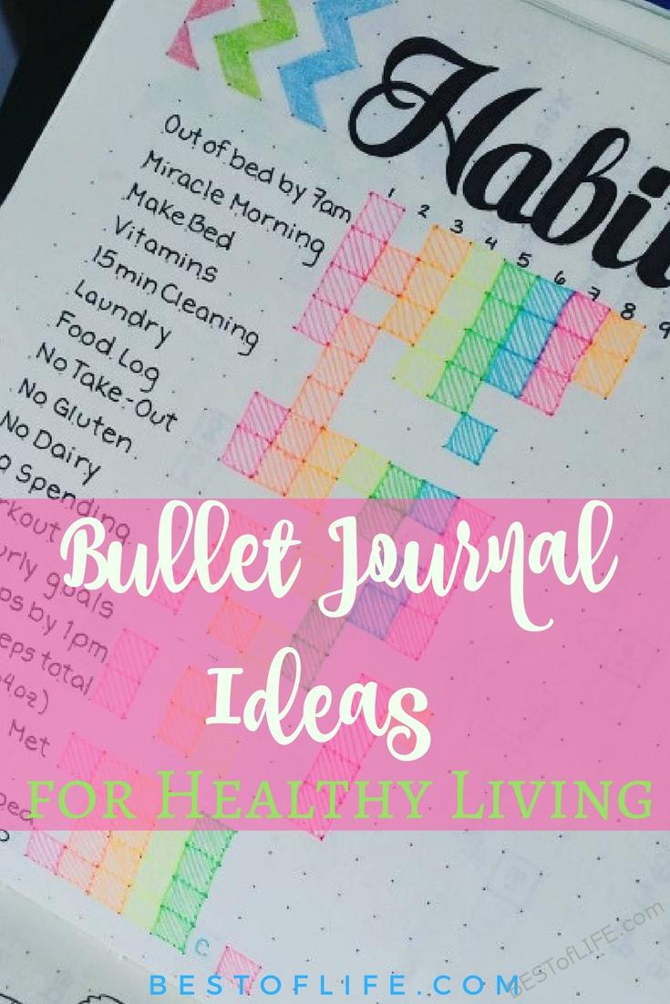 Learn a few of the best bullet journal ideas to improve your health. They'll help you live a healthier lifestyle one bullet point at a time. Bullet Journal Ideas | Easy Bullet Journal Ideas | Bullet Journal Ideas for Health | Healthy BuJo Ideas | Easy BuJo Ideas | BuJo tips