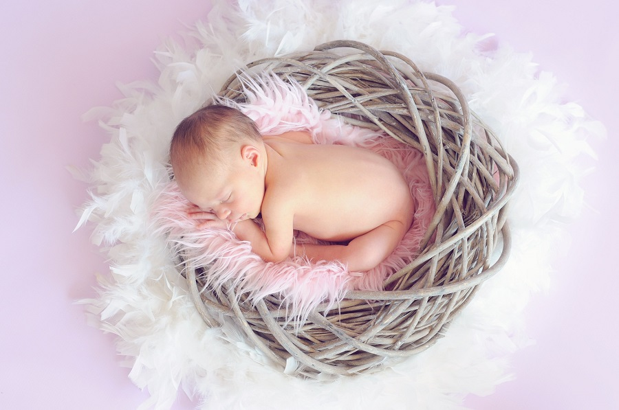 Baby Shower Ideas for Girls Overhead View of a Baby Girl Sleeping in a Basket with Fluff Around it