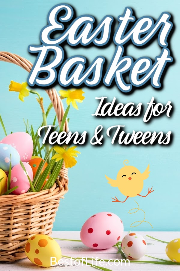 Easter basket ideas for tweens and teens do not have to break the bank, all you need are a few of their favorite treats. Easter Basket Ideas for Boys | Easter Basket Ideas for Girls | Gifts for Easter | DIY Easter Baskets | Easter Things to do for Teens | Things to do with Teens on Easter #easterbasket #eastercandy via @thebestoflife
