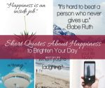 These short quotes about happiness will help give you a more positive outlook. They can brighten your mood and change your whole day!