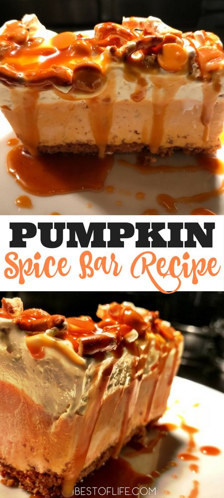 Nothing says fall like the smell of pumpkin spice throughout the home! This pumpkin spice bars recipe is easy and is perfect for pumpkin lovers. Fall Recipes | Halloween Recipes | Thanksgiving Recipes | Pumpkin Recipes | Pumpkin Spice Recipes