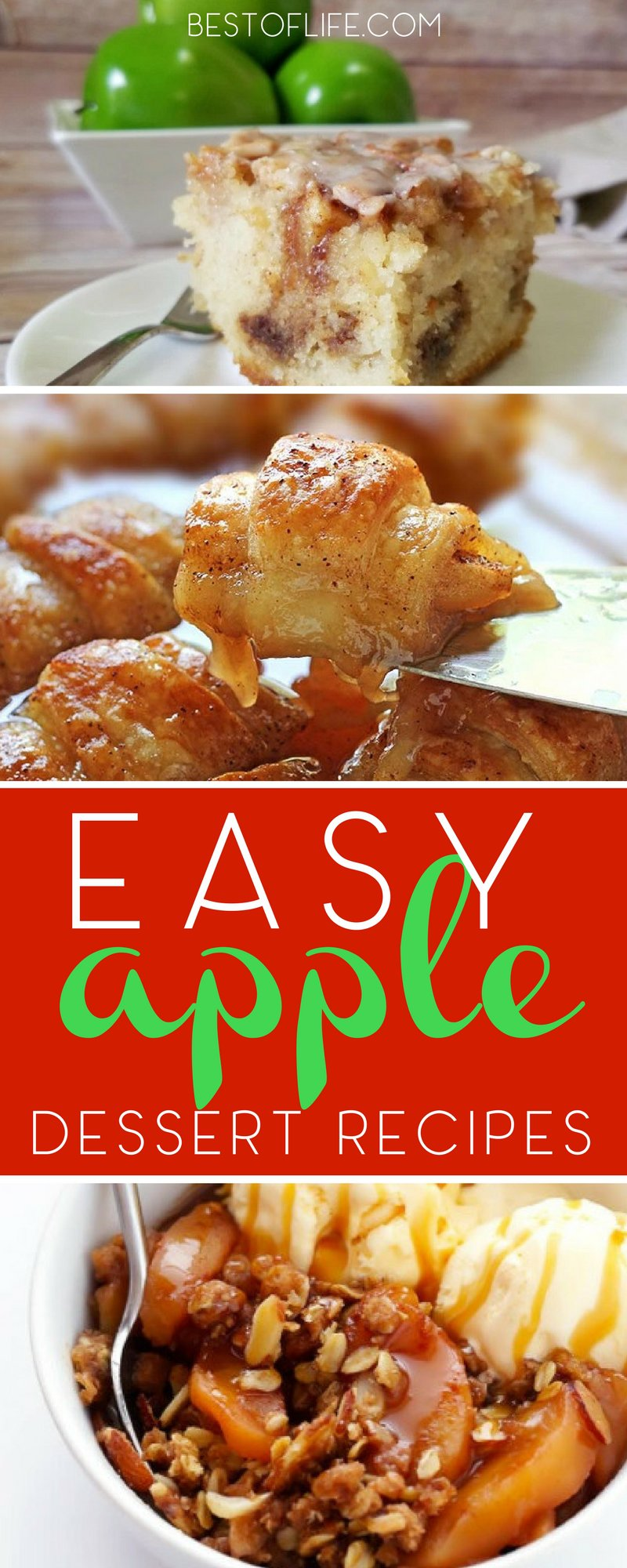 Easy apple dessert recipes are perfect any time of year, but especially during fall. Kids will love these apple recipes and they work perfectly for serving at parties. Apple Crisp Recipes | Apple Desserts | Easy Dessert Recipes | Easy Apple Recipes | Fall Recipes | Crockpot Apple Recipes