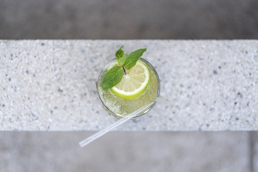 Overhead View of Tequila Drinks on a Marble Surface
