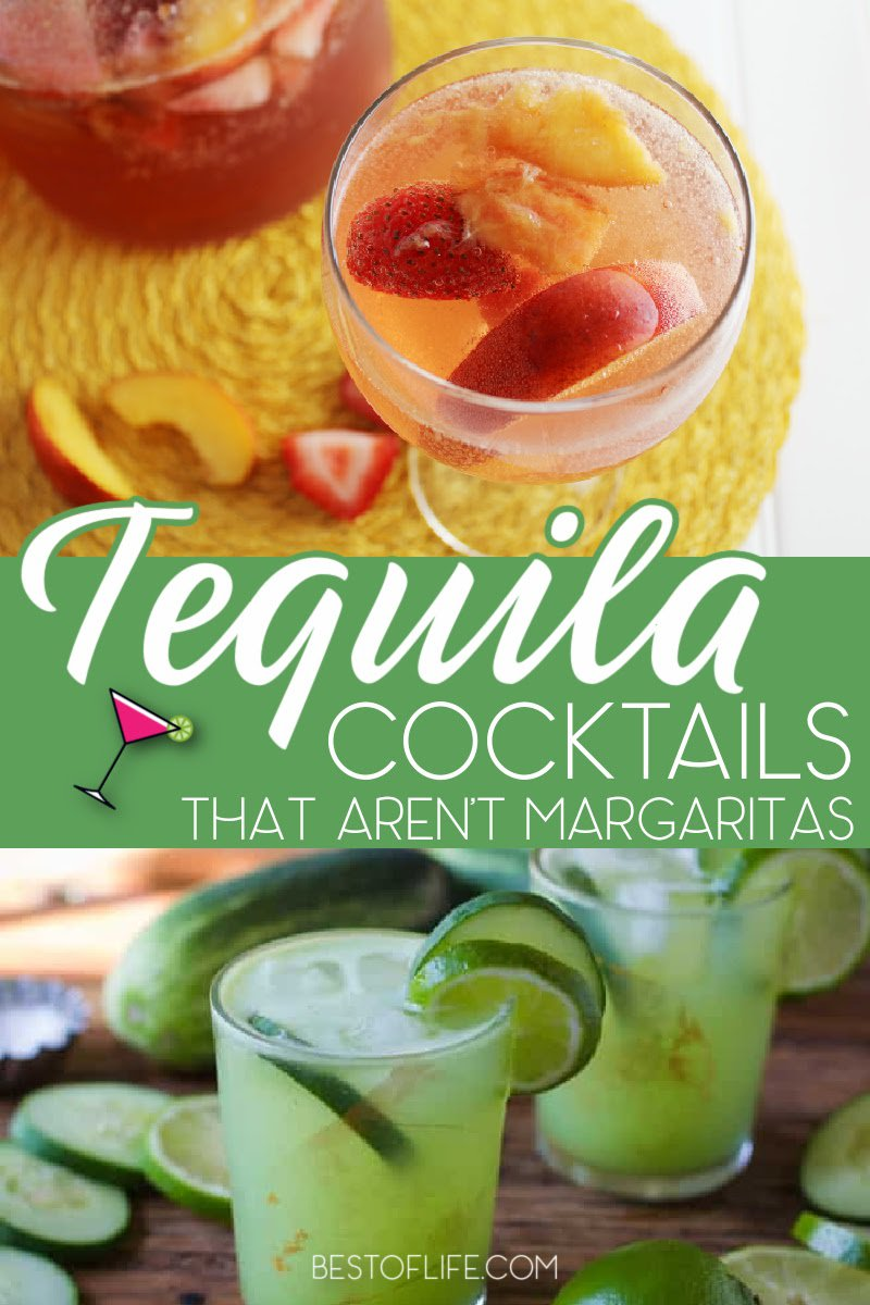 It's no secret we love margaritas, but there is so much more to do with tequila! From fruity drinks to coffees and spiced drinks, these tequila drinks that aren't margaritas are sure to be a favorite. Low Calorie Cocktails | Tequila Cocktails | Happy Hour Drink Recipes | Tequila Sunrise | Tequila Rose Drinks | Shots for Parties | Cocktail Party Ideas | Party Recipes for Adults | Recipes for Cocktail Parties #tequila #cocktails via @thebestoflife
