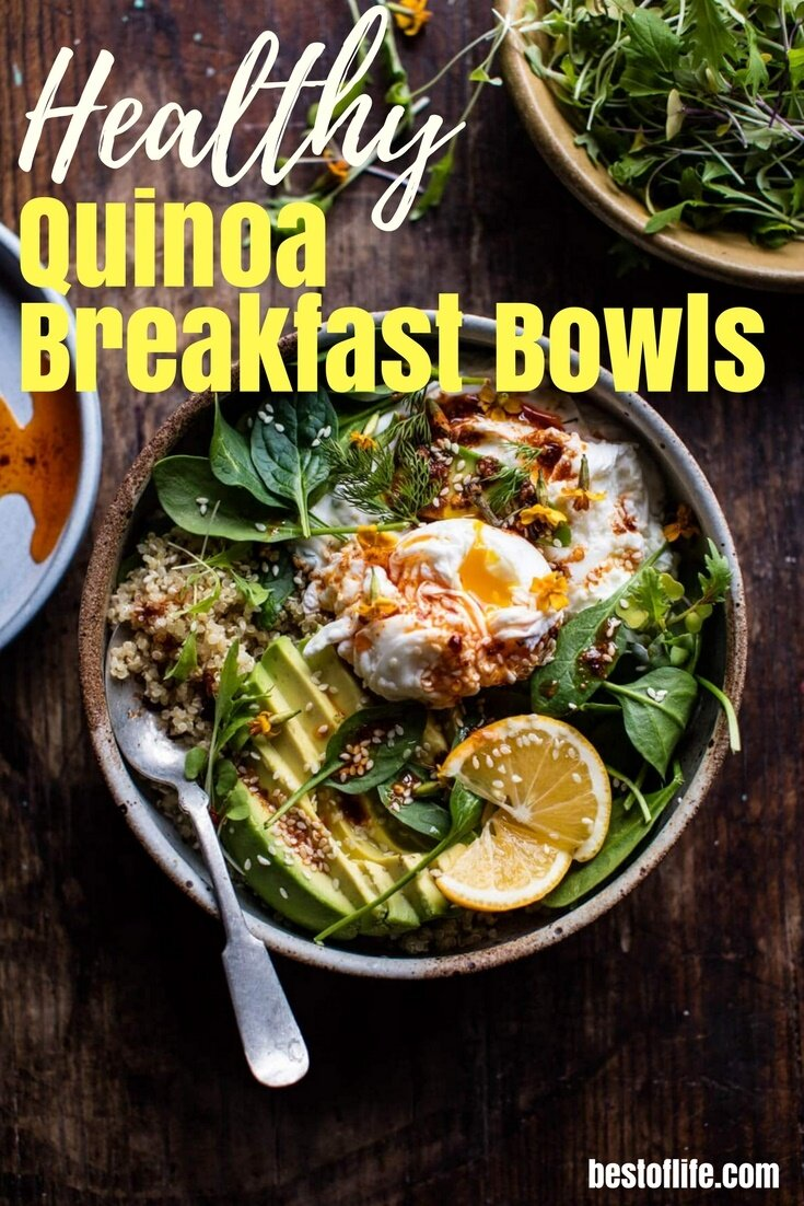 A quinoa breakfast bowl can be a nutritious and versatile way to start your day.  From fruity, to dessert-like and even savory, here's a list of our favorite 15 quinoa breakfast bowls to start your day off right.  Healthy Breakfast Recipes | Breakfast Bowl Recipes | Recipes with Quinoa | Quinoa Breakfast Recipes | Protein Breakfast Recipes | Weight Loss Recipes via @thebestoflife