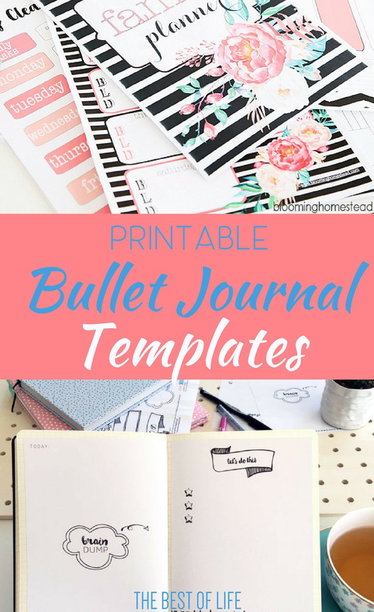 Printable bullet journal templates can help give you the creativity you need to put together the best bullet journal to organize every aspect of your life. Bullet Journal Printables | Free Bullet Journal Printables | BuJo Printables | Bullet Journal Tips | Best BUllet Journal Tips | BuJo Tips | Best BuJo Tips via @thebestoflife
