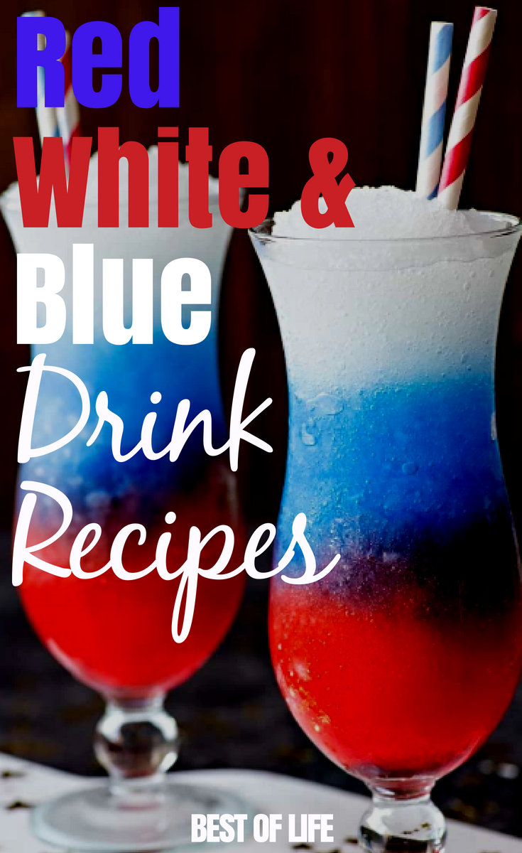 The best red white and blue drink recipes with alcohol will be patriotic, delicious, and refreshing for those warm, outdoor celebrations. #cocktails #cocktailrecipes #4thofJuly #patriotic #patrioticcocktails #happyhour #happyhourrecipes
