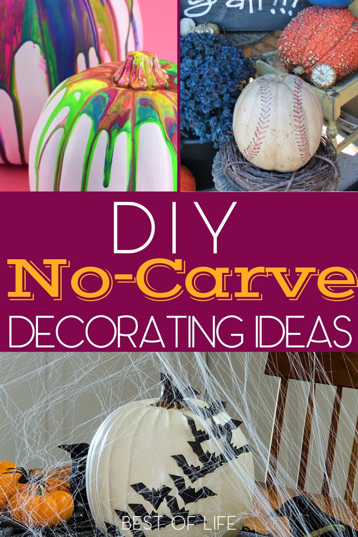 Use a few DIY no carve pumpkin decorating ideas to keep the knives and sharp tools out of reach of your children while they still get to enjoy the creatively spooky fun of Halloween. How to Decorate a Pumpkin | Pumpkin Decorating Ideas | Pumpkin Ideas for Kids #pumpkin #DIY via @thebestoflife