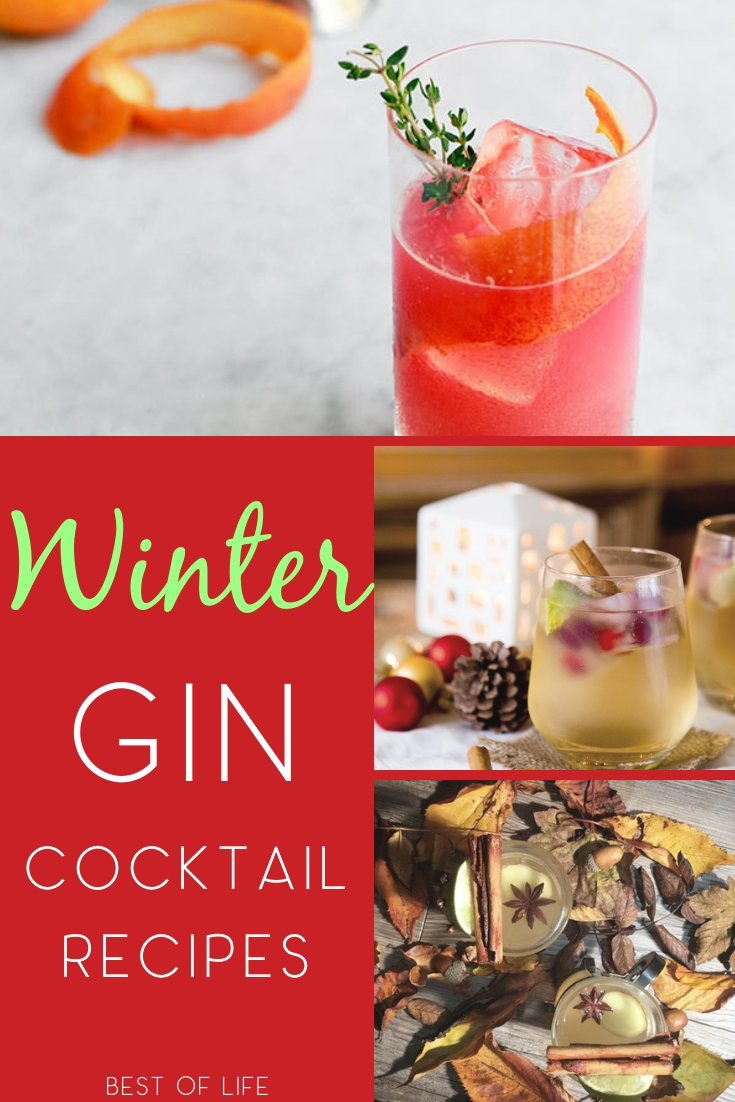 Winter cocktails with gin are cozy and tasty for any chilly evening. Whether a happy hour with friends or enjoying a cocktail by the fire, these gin cocktails are perfect. Winter Cocktail Ideas | Gin Cocktails | Gin Drink Recipes | Holiday Cocktails | Drink Recipes #cocktails #recipes