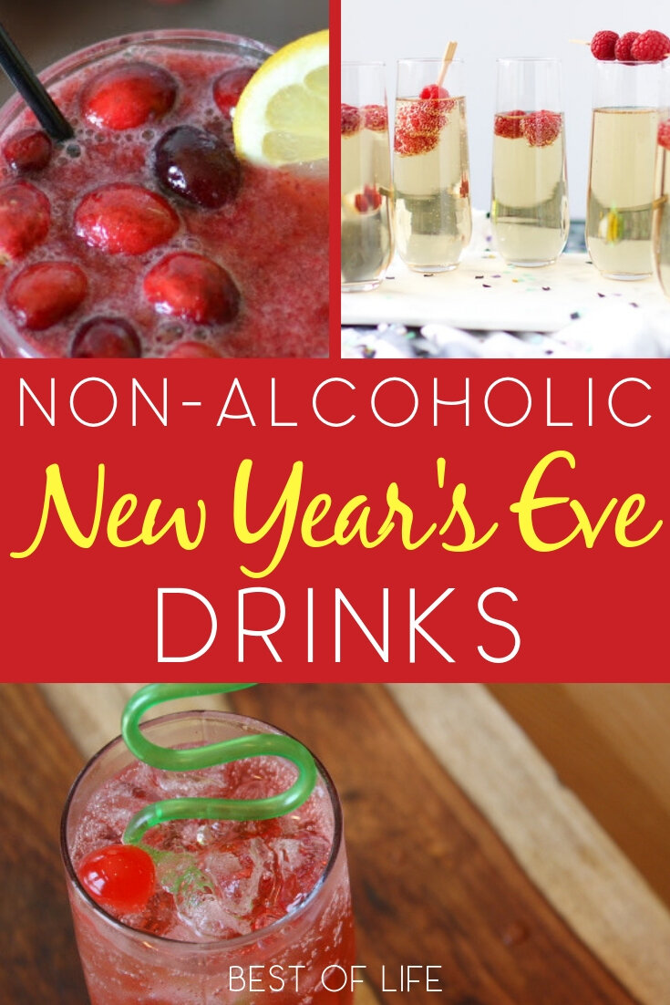 Use the best non alcoholic New Year's Eve drinks to make sure everyone at your party gets to enjoy their evening and welcome in the New Year! New Year's Eve Ideas | New Years Eve Party Planning | New Year's Eve Drinks for Kids | New Year's Eve Mocktails #newyearseve #drinks