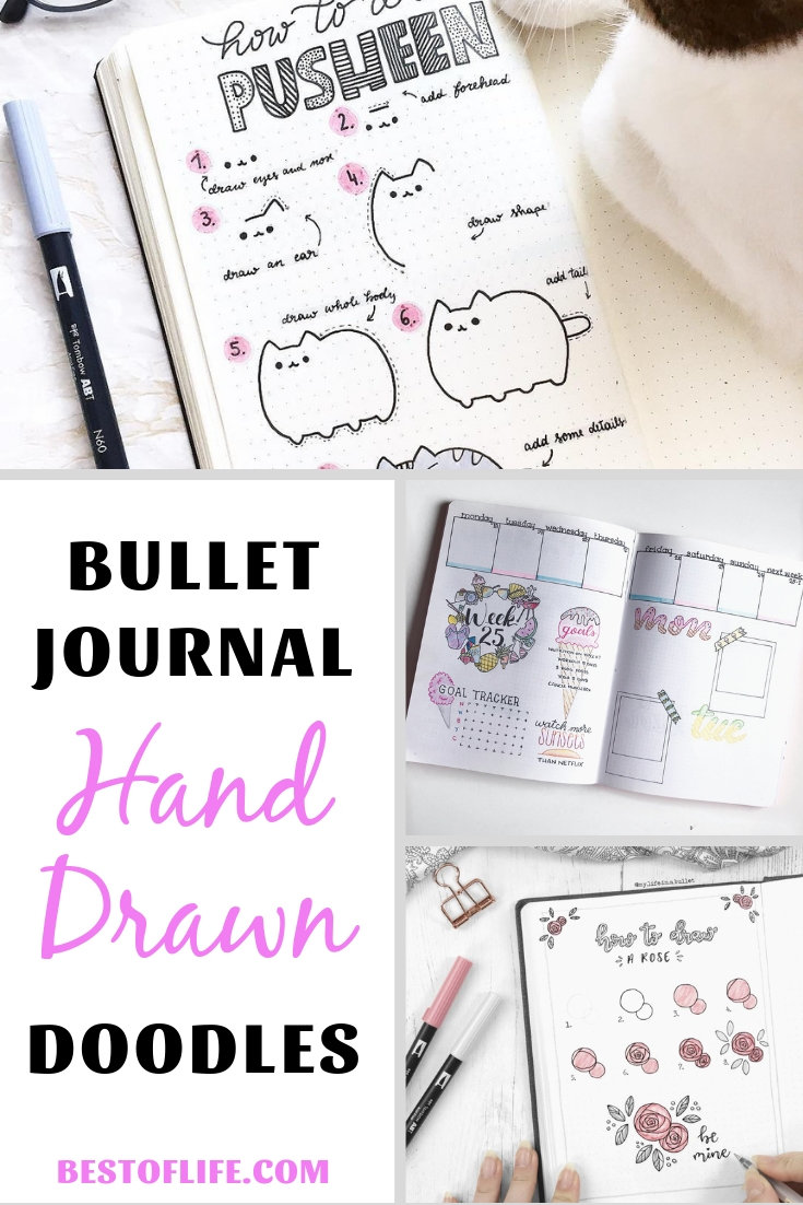 Bullet journal hand drawn doodles are great ways to add personal flair to the book of your life, your day to day, and your goals for the future. Bullet Journal Ideas | Bullet Journal Drawings | Doodles for Bullet Journals | Life Organization Tips #bulletjournal #doodles