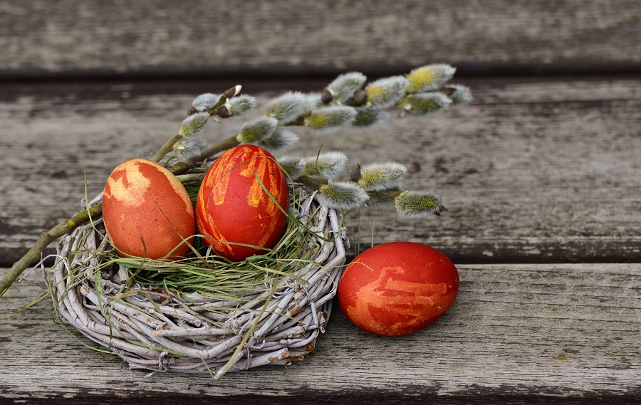 Easter Egg Hunt Decorating Designs Red Eggs in a Nest