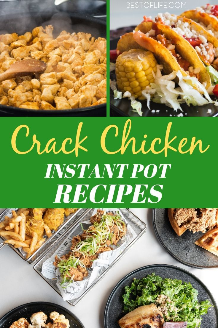 Use these instant pot crack chicken recipes to make exciting and delicious meals with chicken. They are great for days when you are short on time! Instant Pot Chicken Recipes | Crack Chicken Recipes | Chicken Recipes for Dinner | Easy Dinner Recipes | Instant Pot Recipes | Easy Instant Pot Recipes #instantpot #crackchicken via @thebestoflife
