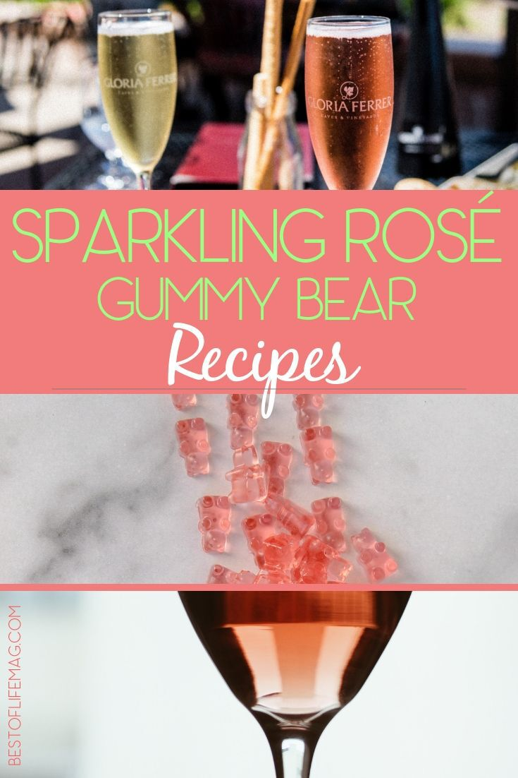 Make the best sparkling rosé gummy bear recipes for your next party or gathering of friends and family for a fun party twist! Rosé Gummies Recipes | Champagne Gummy Bears | Wine Gummy Bears | Wine Infused Gummy Bears | Alcoholic Gummy Bear Recipes #party #recipes