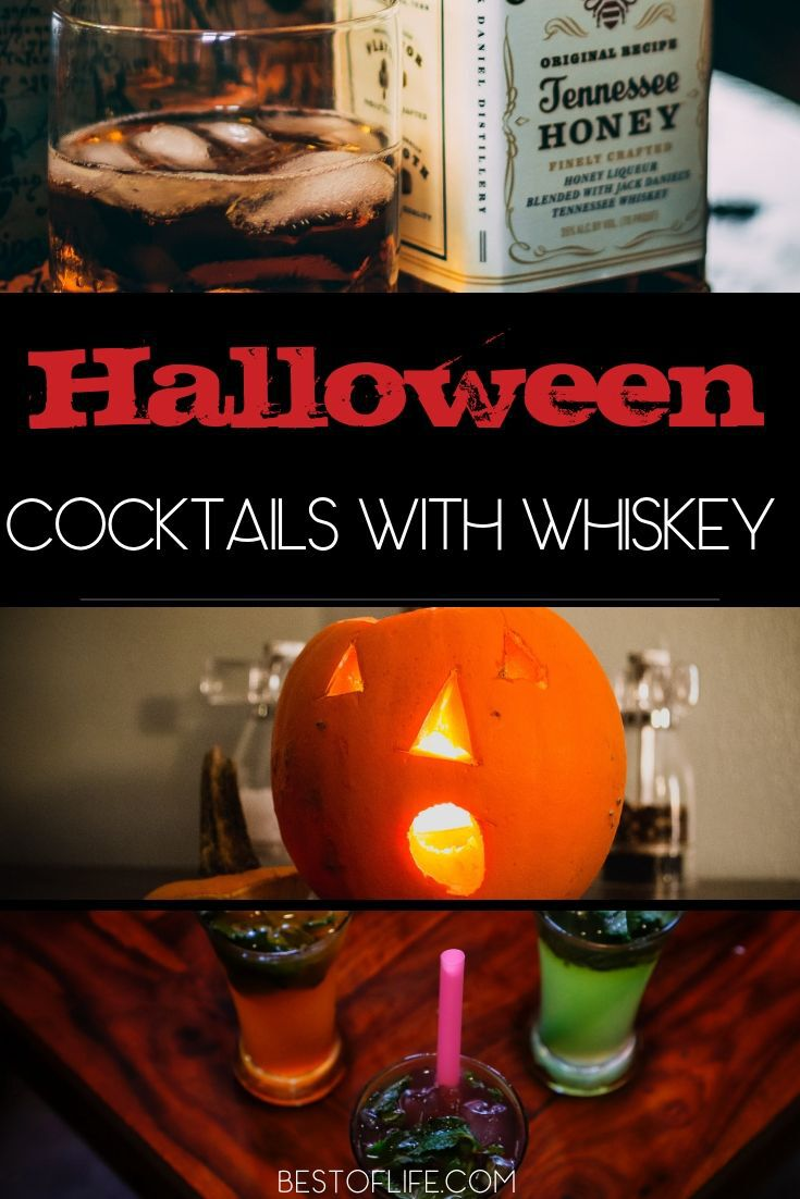 Make these Halloween cocktails with whiskey at your Halloween party or as you wait to hand out candy for a happy Halloween. Halloween Party Cocktails | Halloween Drink Recipes | Whiskey Recipes | Bloody Whiskey Cocktails | Whiskey Party Recipes #halloween #whiskey