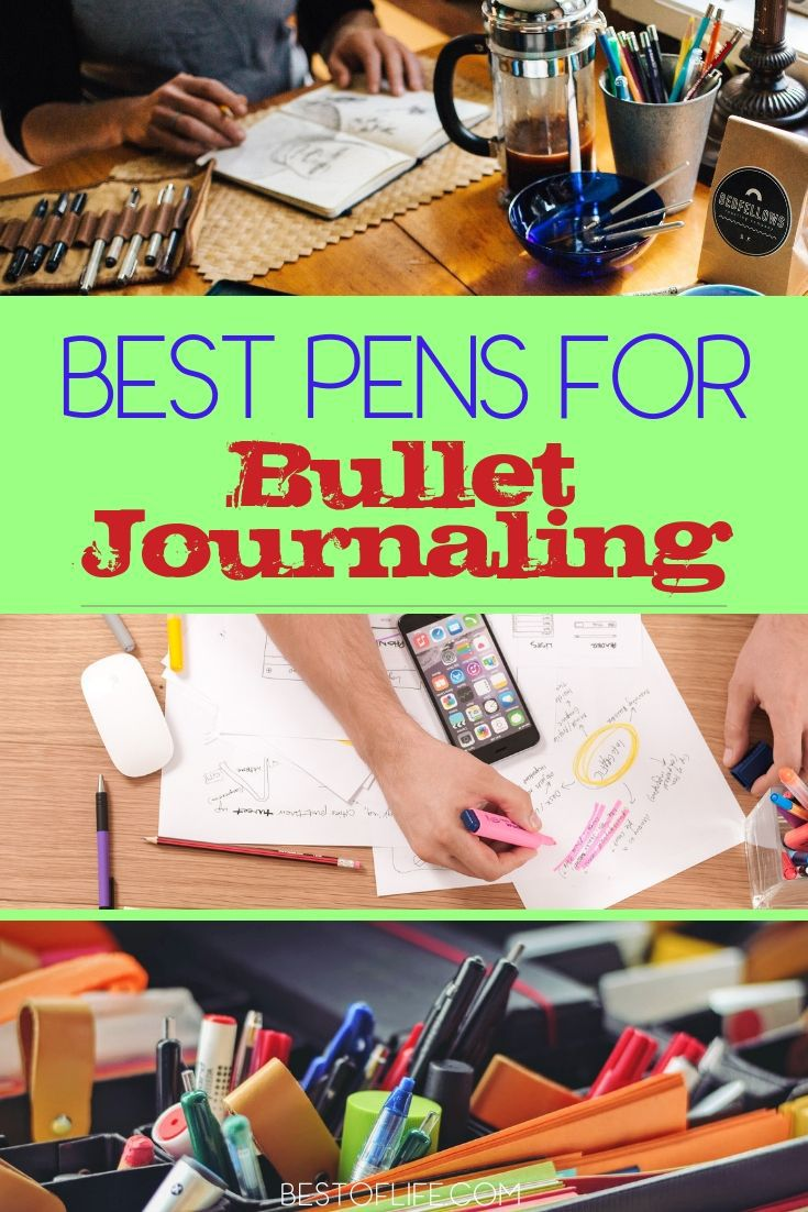 Bullet journal pens aren't like your average ball-point pen. These pens are designed to get more creative and make your bullet journal a piece of art. Bullet Journal Tips | Bullet Journal Ideas | BuJo Ideas | BuJo Tips | Pens for Bullet Journals | Bullet Journal Tips for Beginners #bujo #tips