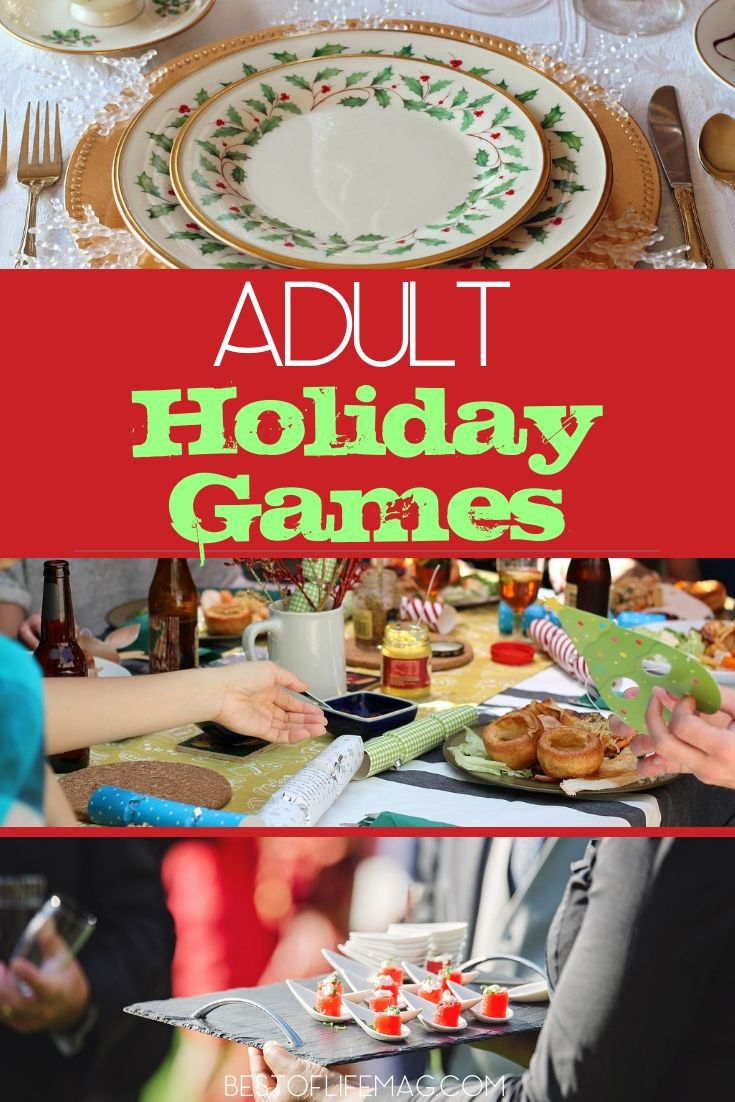 Put the kids to bed early or just don't invite them to play these amazingly fun adult holiday games during your next holiday party. Christmas Party Ideas | Christmas Party Games | Holiday Party Activities | Adult Holiday Party Ideas | Holiday Ideas for Adults | Party Ideas  #holidays #games via @thebestoflife