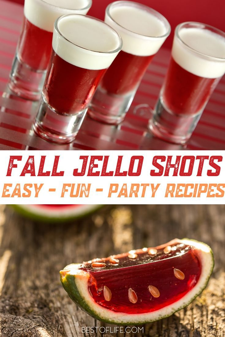 Spice up those fall and winter parties with colorful fall Jello shot recipes! Enjoy these fall Jello shots with family and friends! Fall Cocktail Recipes | Party Planning | Fall Party Recipes | Halloween Recipes | Thanksgiving Recipes | Halloween Cocktail Recipes | Thanksgiving Cocktail Recipes #fall #cocktails
