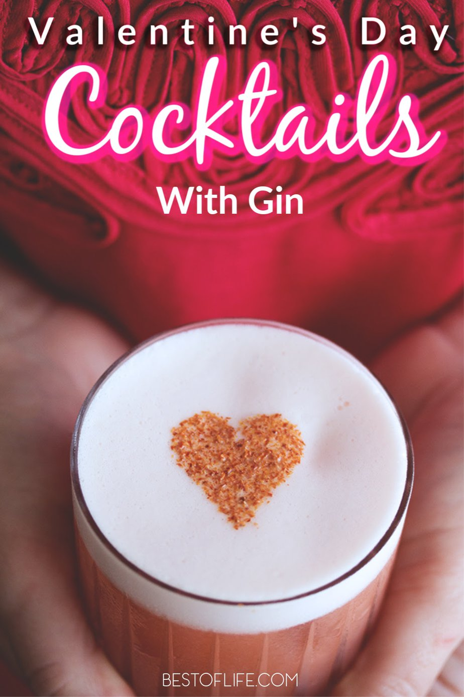 These delicious Valentine's Day cocktails with gin are the perfect way to set the mood for a night with your loved one. Better yet, they can be enjoyed all year long! Cheers! Romantic Cocktails | Cocktails for Couples | Gin Cocktails for Couples | Gin Drinks | Mixed Drink Recipes | Pink Cocktails | Red Cocktails for Valentine's Day #cocktails #recipe