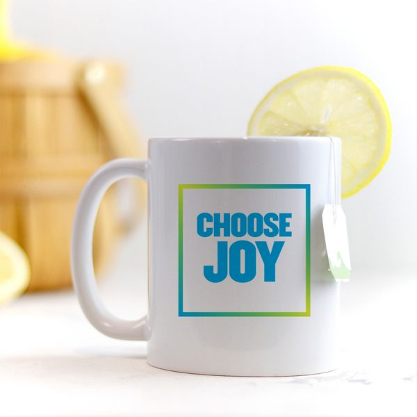 Choose Joy Block Font Quote Mug Blue Green Yellow Multicolor