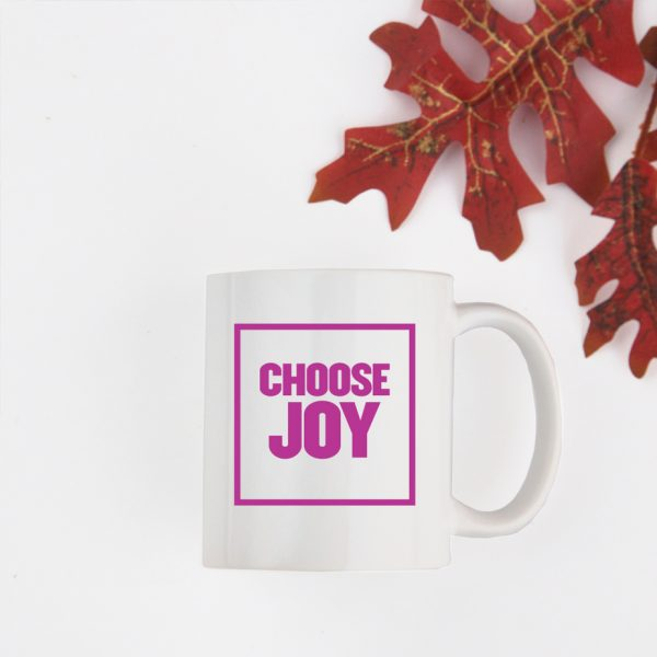 Choose Joy Block Font Quote Mug Pink