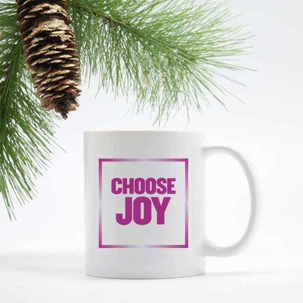 Choose Joy Block Font Quote Mug Purple Burst Color