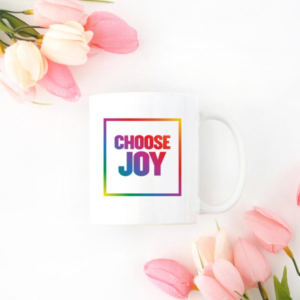 Choose Joy Quote Mug Rainbow Block Font