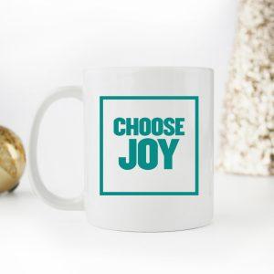 Choose Joy Block Font Coffee Mug in Teal
