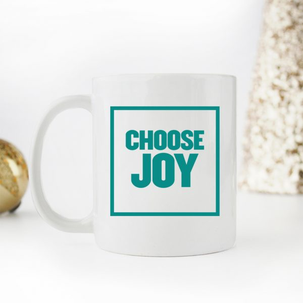Choose Joy Block Font Coffee Mug in Teal