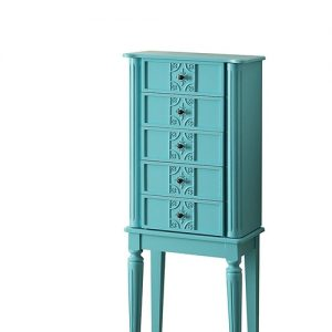 A beach house or farmhouse style home is beautifully complemented by the right accessories like this chic jewelry armoire with raised mirror.