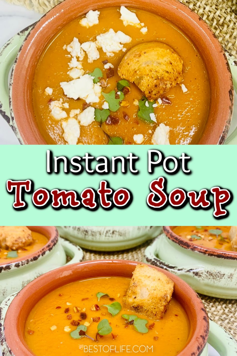 You can easily make Instant Pot red pepper tomato soup for dinner any night of the week or even pack it up for a healthy lunch on the go. Instant Pot Soup Recipes Healthy | Instant Pot Lunch Recipes | Homemade Tomato Soup Recipe | Instant Pot Soup Recipe | Instant Pot Meal Planning | On The Go Recipes for Lunch | Tomato Soup Recipes #instantpot #soup via @thebestoflife