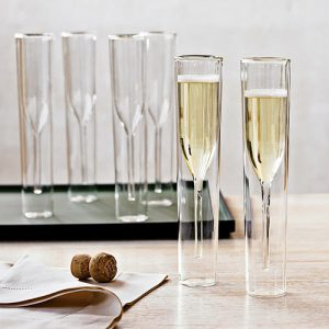 Your new inside out champagne glass flute set will help you enjoy champagne while keeping your champagne the perfect temperature. Unique Champagne Flutes | Crystal Champagne Flutes | Party Planning | Gifts for Champagne Lovers | New Years Eve Party Tips | Party Supplies for Adults #champagne #partytips