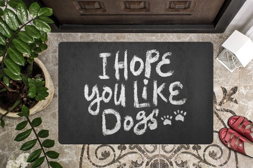 I hope you like dogs because this home is clearly a dog home. Now is your chance to leave if you don't love dogs the way we do. Dog Owner Doormats | Home Decor for Dog Owners | Door Mats for Dog Lovers | Best Outdoor Doormat for Dogs | Door Mats with Quotes | Front Porch Decor #decor #doglovers