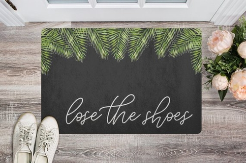 Lose the shoes! This isn't about not liking your hyped sneakers this is about liking my clean floors more than the footwear you are using. Decorative Doormats | Luxury Front Door Mats | Funny Door Mats | Doormats for Clean Floors | Front Porch Decorating Tips | Front Porch Ideas #decorations #outdoor