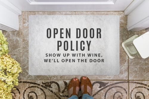 Perhaps the best open door policy ever, right? This fun doormat is perfect for wine lovers and helps you fill your wine rack in the process! Funny Wine Sayings | Wine Doormat | Doormats for Wine Lovers | Gifts for Wine Lovers | Wine Gift Ideas | Wine Down #wine #decor