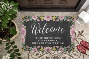 There are some families that you just aren't sure about, but when you see this When you're here you're family doormat you know you have found your people. Funny Family Quotes | Funny Family Jokes | Funny Doormat | Humorous Door Mat | Family Gifts | Outdoor Decor | Outdoor Home Decor #family #funny