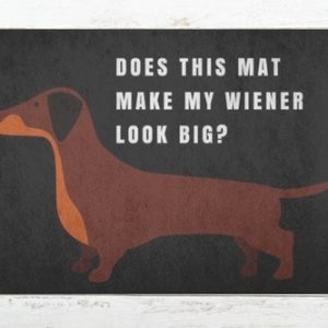 Your doormat affords you the luxury of being able to ask the important questions like does this mat make my wiener look big?