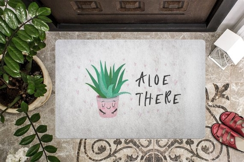 Puns are great, like aloe there! There are so many fun puns and now your doormat can have one of them at the ready for any guests to your home.