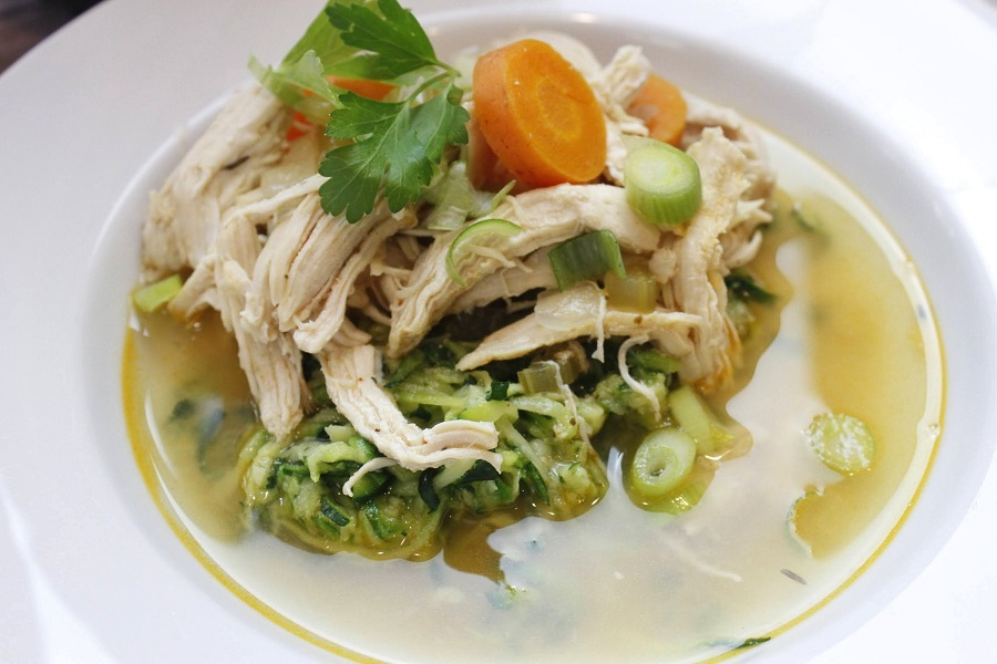 Whole30 Instant Pot Chicken and Vegetable Soup Overhead View of Soup in a Bowl