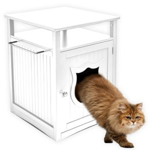 Giving your cat its own cat house litterbox is a wonderful way to keep the litterbox out of sight while also adding a new night stand or shelf to your home. Modern Cat Litter Box Furniture | Cat Litter Box Furniture | Cat Litter Box Enclosure | Litter Box Furniture | How to Hide a Litter Box #catlover #furniture