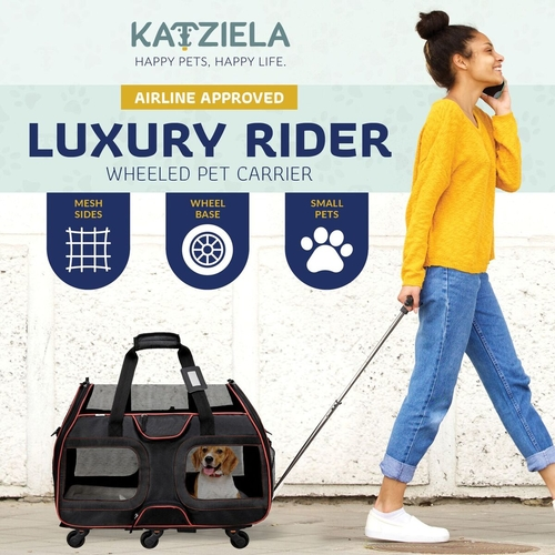 Use this pet carrier with wheels next time you travel! With plenty of ventilation, it is TSA approved, fits under your seat, and has storage options for easy travel with pets. Luxury Pet Travel | Pet Carrier with Wheels | Travel Gear for Pet Owners | Pet Travel Accessories | Ventilated Pet Carrier | Adjustable Pet Carrier | TSA Approved Pet Carrier | Air Travel Tips with Pets #airtravel #petowners