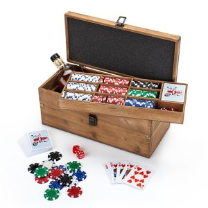 A poker & liquor box set doesn't only make a great gift, it also makes a classy addition to any poker night you may host yourself with family and friends. Professional Poker Set | Poker Set Hand | Game Night Ideas | Poker Night Ideas | Poker Box Sets with Chips | Adult Game Night Tips #poker #gamenight
