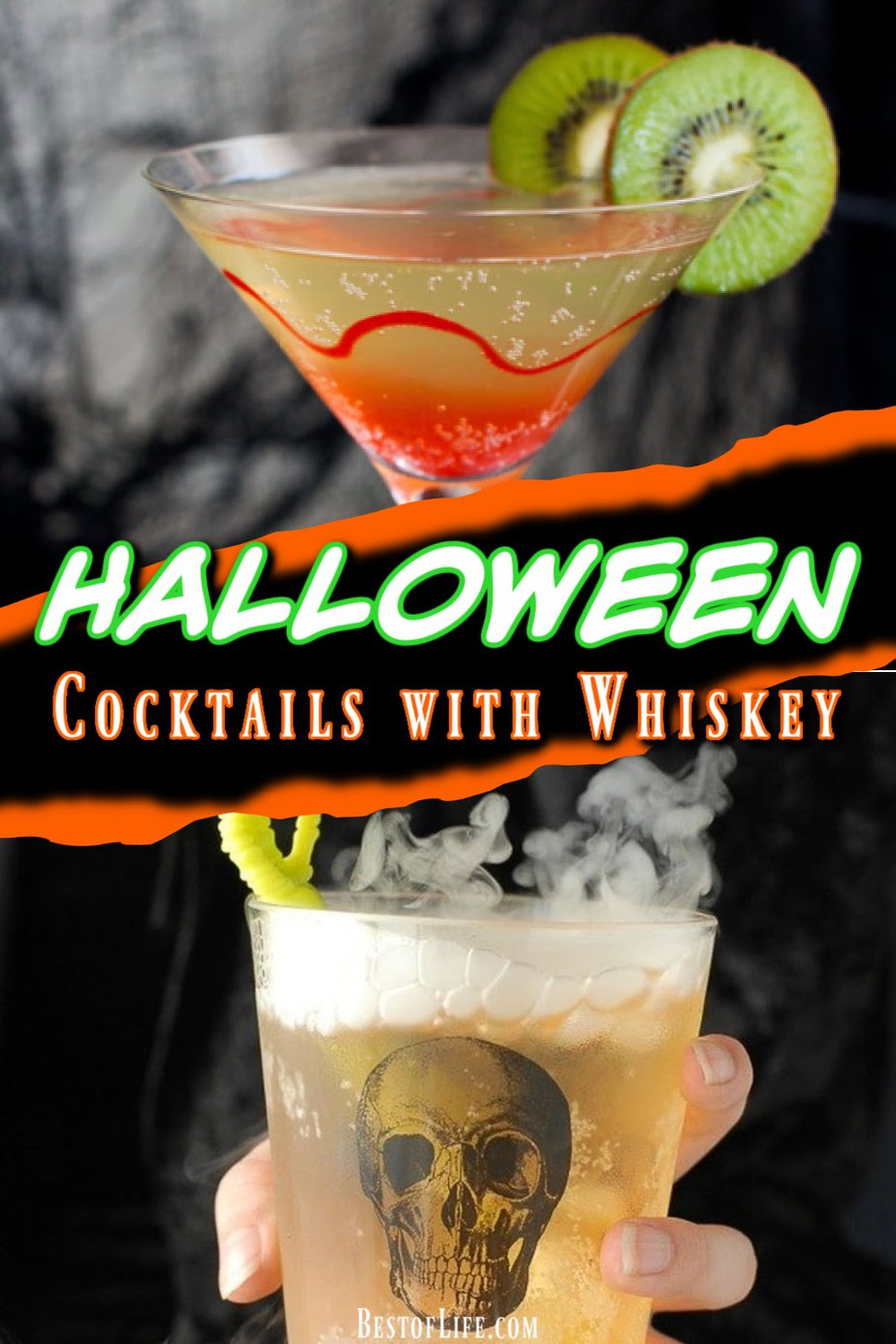 Halloween cocktails with whiskey are not only delicious Halloween party cocktails, but also make a festive wedding cocktail recipe that everyone will enjoy. Glowing Halloween Cocktails | Classy Halloween Cocktails | Wedding Cocktail Recipes | Drink Recipes for Weddings | Drink Recipes for Halloween Parties | Halloween Party Recipes | Halloween Party Cocktails | Whiskey Cocktails for Fall | Fall Whiskey Cocktails #whiskey #halloween via @thebestoflife