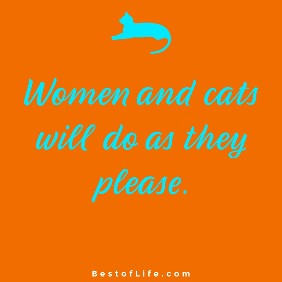 Funny and Cute Cat Quotes to Make you Smile Women and Cats