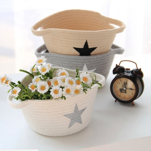 A woven cotton basket is perfect for storing things in your home while becoming part of your home decor and adding a creative touch to just about any room. Cotton Rope Basket | Coiled Rope Basket | Cotton Rope Basket Set | Home Decor Ideas | Home Storage Tips | Woven Basket Ideas #homedecor #storage