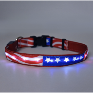 Your pet can get patriotic with this bright Americana LED dog collar that works great for night walks and ensures you and your dog are seen by passing cars. LED Dog Collar | Pet Collars | Pet Accessories | Dog Collar with Lights | Dog Collars for Night Walks #pets #dogs
