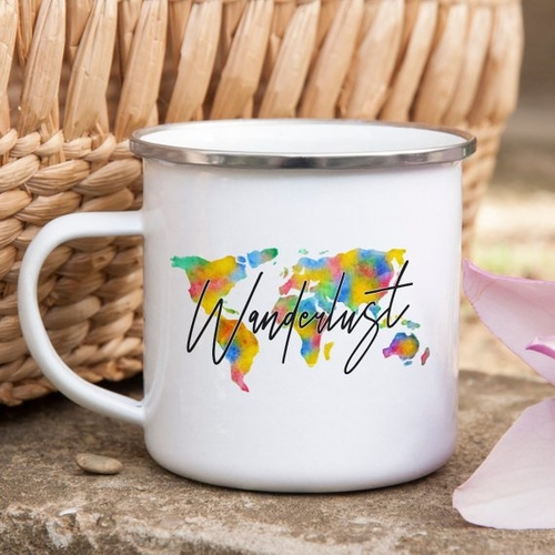 Hiking is an activity but also a lifestyle and a simple reminder that says wanderlust happy hiker could keep you inspired to hike those distant trails. Camping Mugs | Hiking Mug | Enamel Mug | Enamel Camping Mugs | Coffee Mug for Outdoors | Hiking Quotes for Coffee Mugs #coffee #hiking