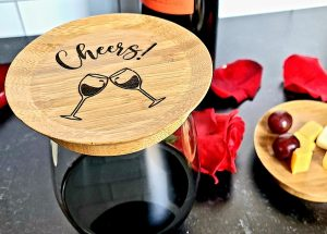 Cheers Wine Glass Topper with appetizers
