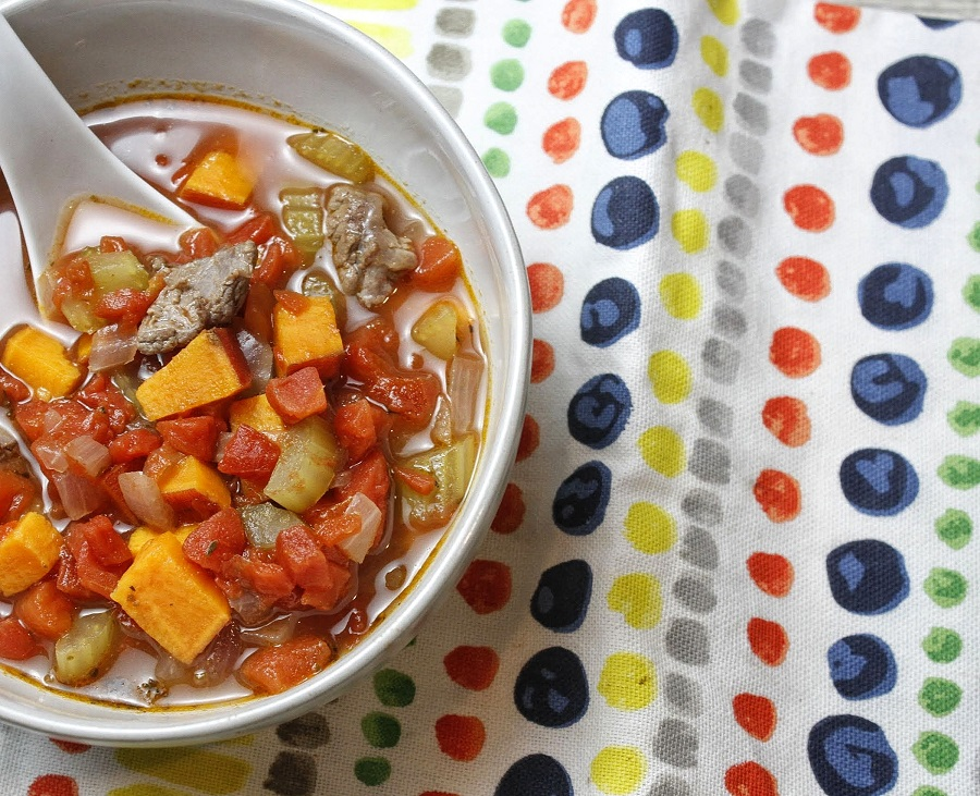 Instant Pot Whole30 Vegetable Soup Bowl of Soup on a Colorful Towel